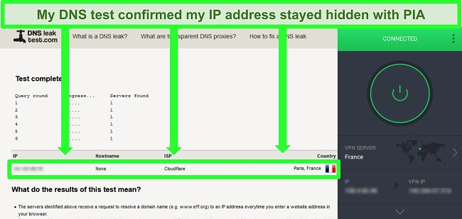Screenshot of a DNS leak test while PIA is connected to a server in France