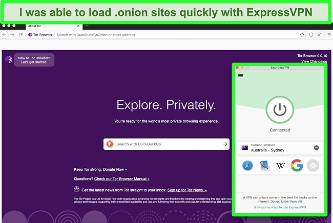 Screenshot of the Tor browser open while ExpressVPN is connected to a server in Australia