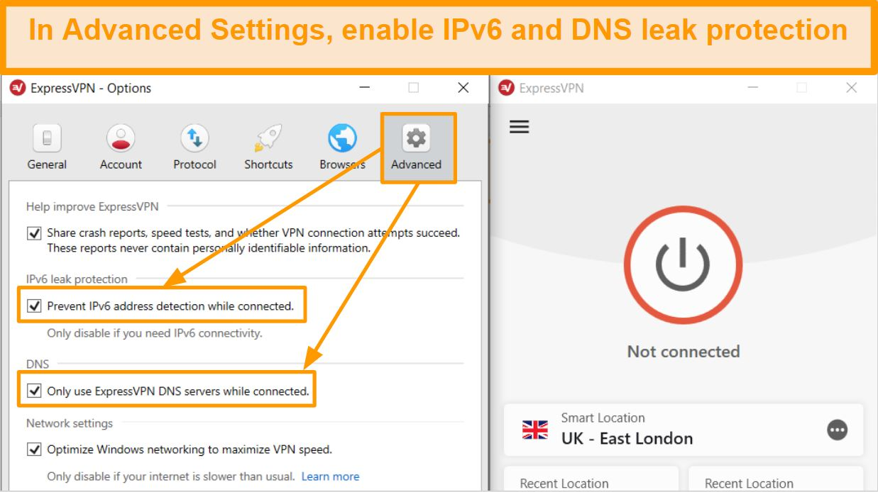 Screenshot of ExpressVPN Advanced Settings with IP and DNS leak protection turned on