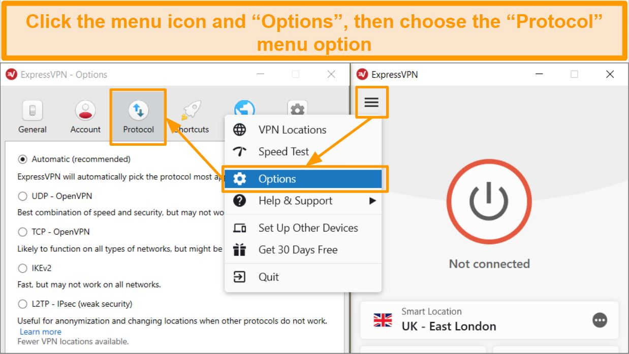 Screenshot of ExpressVPN menu opening Options and Protocol settings
