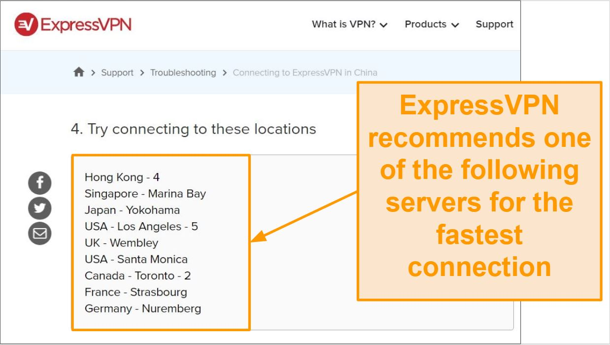 Screenshot of ExpressVPN's recommended servers for connecting from China