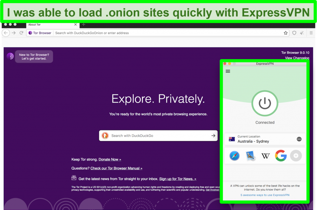 Screenshot of ExpressVPN connected while using Tor browser