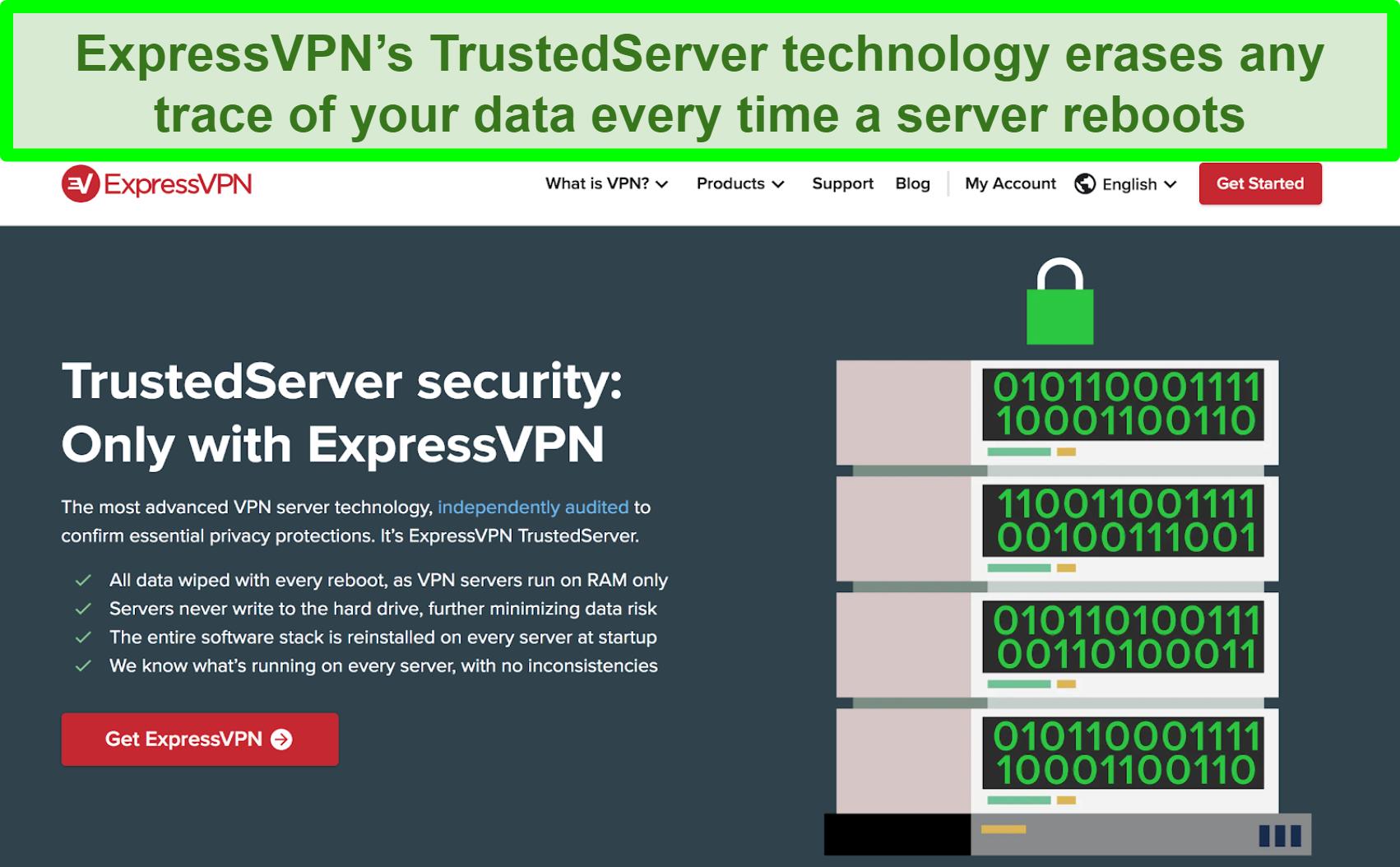 Screenshot of ExpressVPN website explaining TrustedServer technology