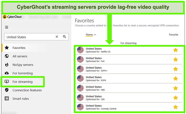 Screenshot of CyberGhost's specialized streaming server menu