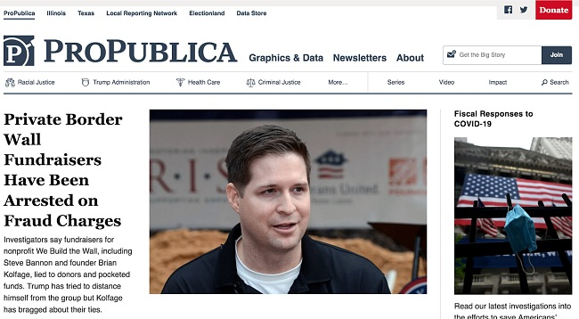 Screenshot of ProPublica site.