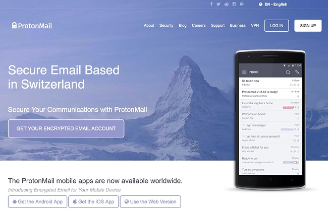 Screenshot of Protonmail's homepage on the dark web
