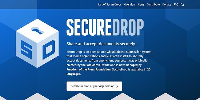 Screenshot of SecureDrop site.