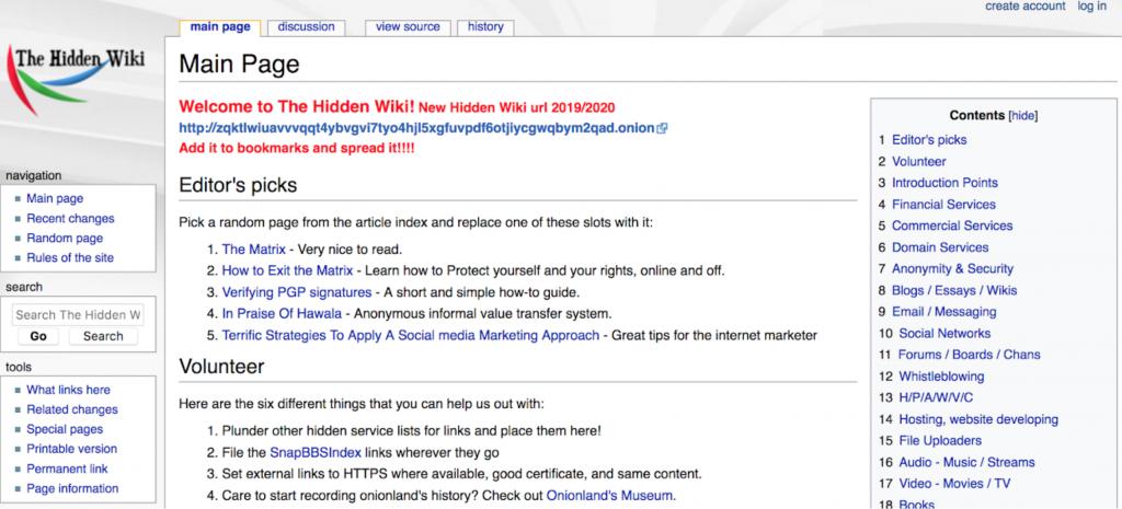 Screenshot of The Hidden Wiki