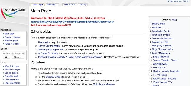 Screenshot of The Hidden Wiki in the Tor browser