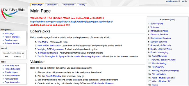 Screenshot of The Hidden Wiki in the Tor browser
