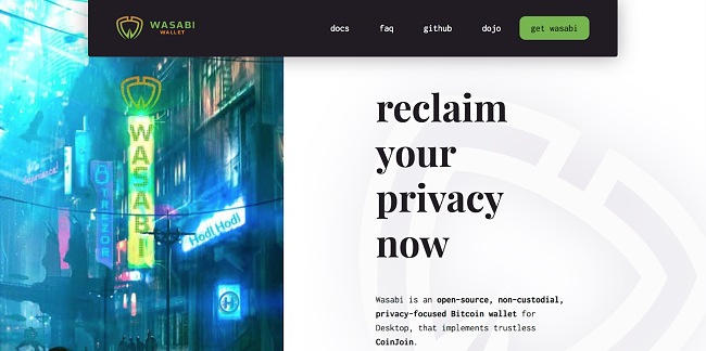 Screenshot of Wasabi Wallet site.