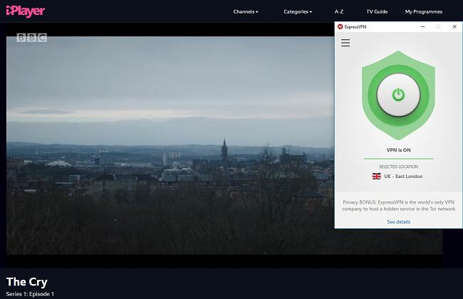 Screenshot of The Cry streaming on BBC IPlayer with ExpressVPN connected