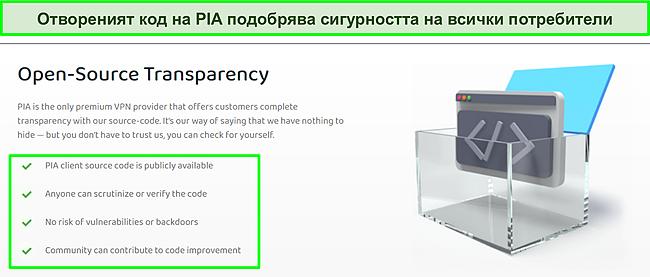 Екранна снимка на уебсайта на PIA с подробности за прозрачността на кода с отворен код.
