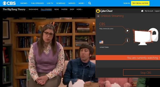 Screenshot of The Big Bang Theory streaming on CBS with CyberGhost connected