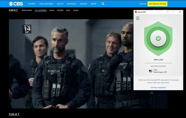 Screenshot of S.W.A.T streaming on CBS with ExpressVPN connected
