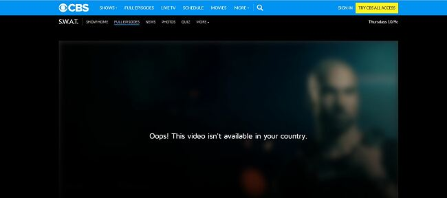 Screenshot of CBS showing warning for S.W.A.T. streaming unavailability outside of USA