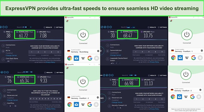 Screenshot of speed tests carried out on 4 ExpressVPN servers in Germany.
