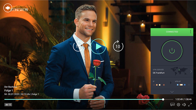 Screenshot of PIA unblocking Der Bachelor on TVNOW Germany.