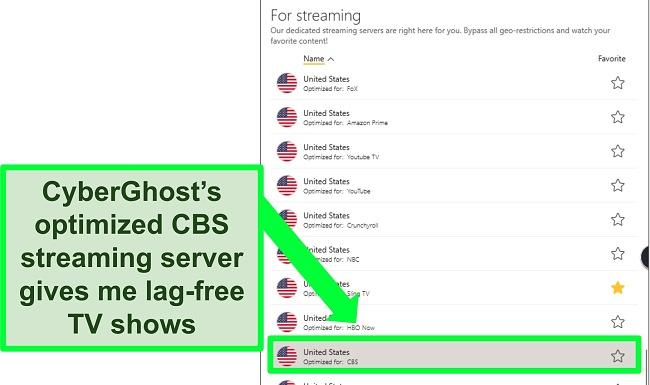 Screenshot of CyberGhost's streaming servers menu showing a CBS-optimized option