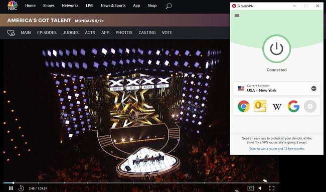 Image of NBC's America's Got Talent episode with ExpressVPN connected to a US server