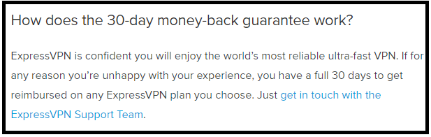 ExpressVPN moneyback guarantee
