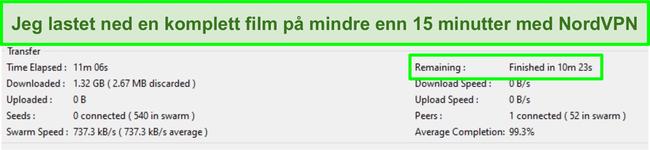 Skjermbilde av Vuze-grensesnittet som viser en full film ble lastet ned på under 15 minutter mens den var koblet til NordVPN