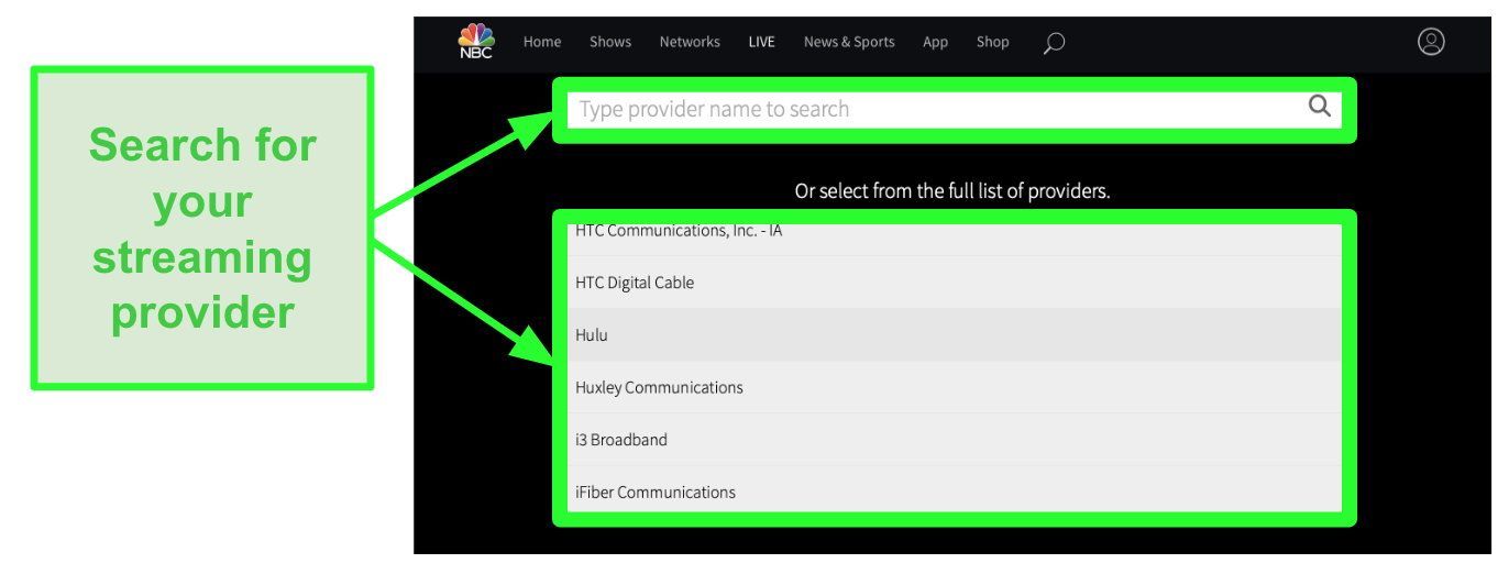 Screenshot of NBC full list of service providers