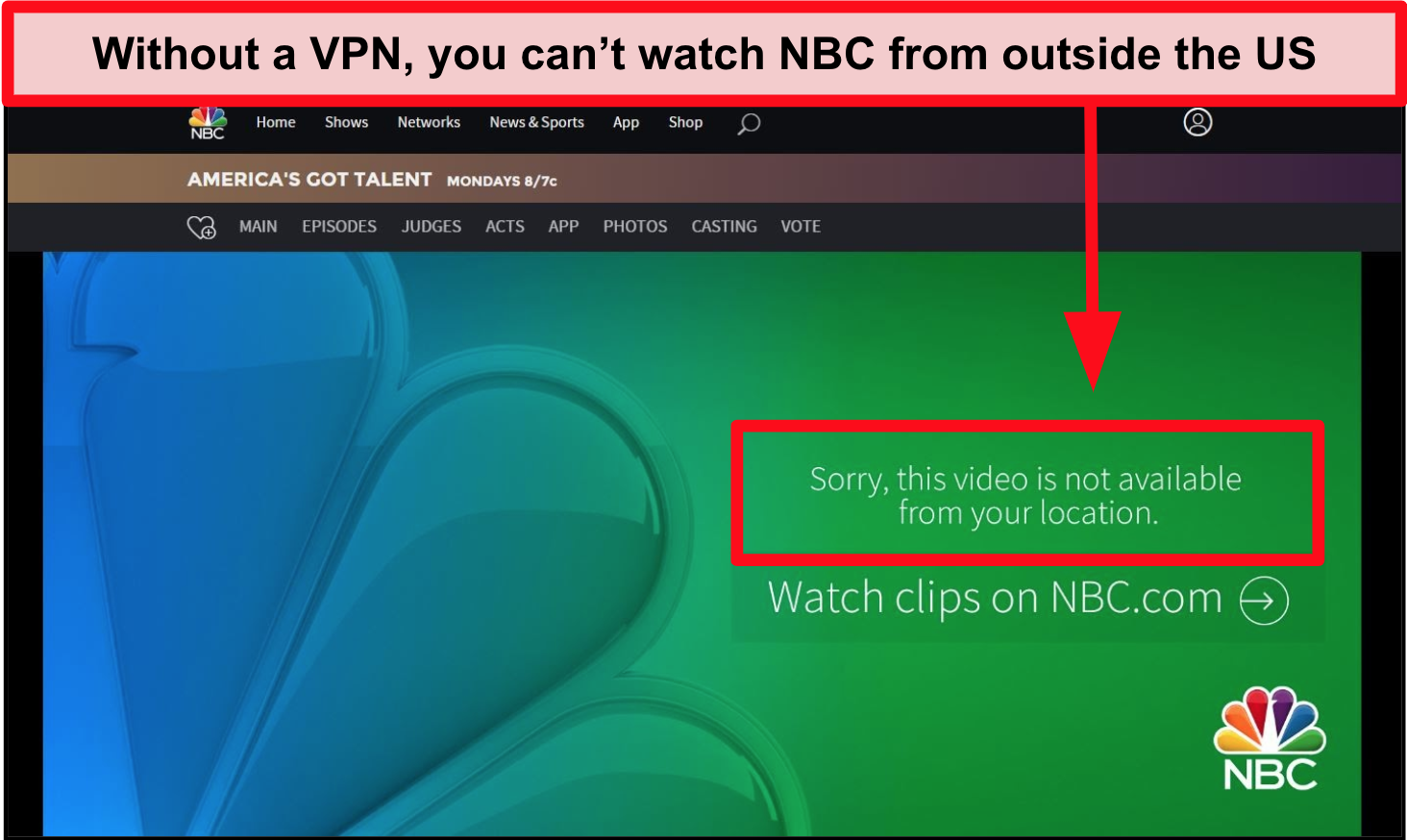 NBC error message when visiting from outside the US