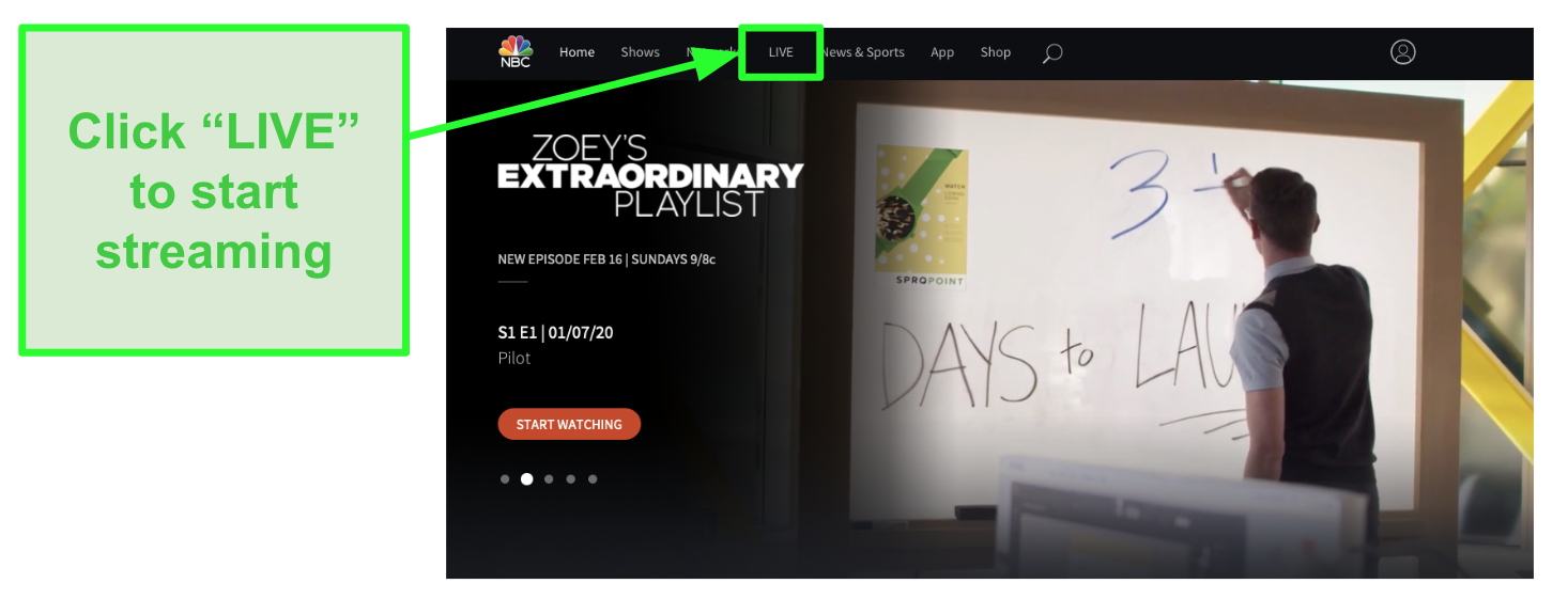 Screenshot of NBC homepage and the live streaming tab