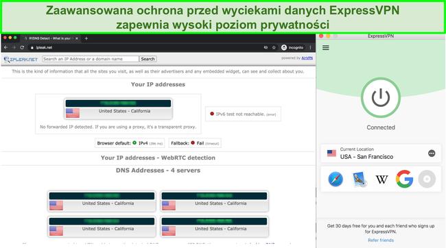 Zrzut ekranu pokazujący wycieki IP, DNS i WebRTC po przejściu ExpressVPN
