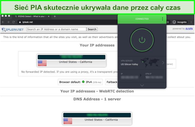 Zrzut ekranu pokazujący, że PIA przeszło testy szczelności IP, DNS i WebRTC