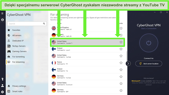najlepsze VPN do użycia dla youtube tv cyberghost zoptymalizowany serwer przesyłania strumieniowego