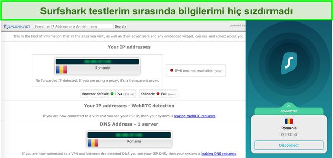 Surfshark'ın IP, DNS ve WebRTC sızıntı testlerinden geçtiğini gösteren ekran görüntüsü