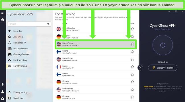 youtube tv cyberghost için optimize edilmiş akış sunucusu için kullanılacak en iyi vpn'ler