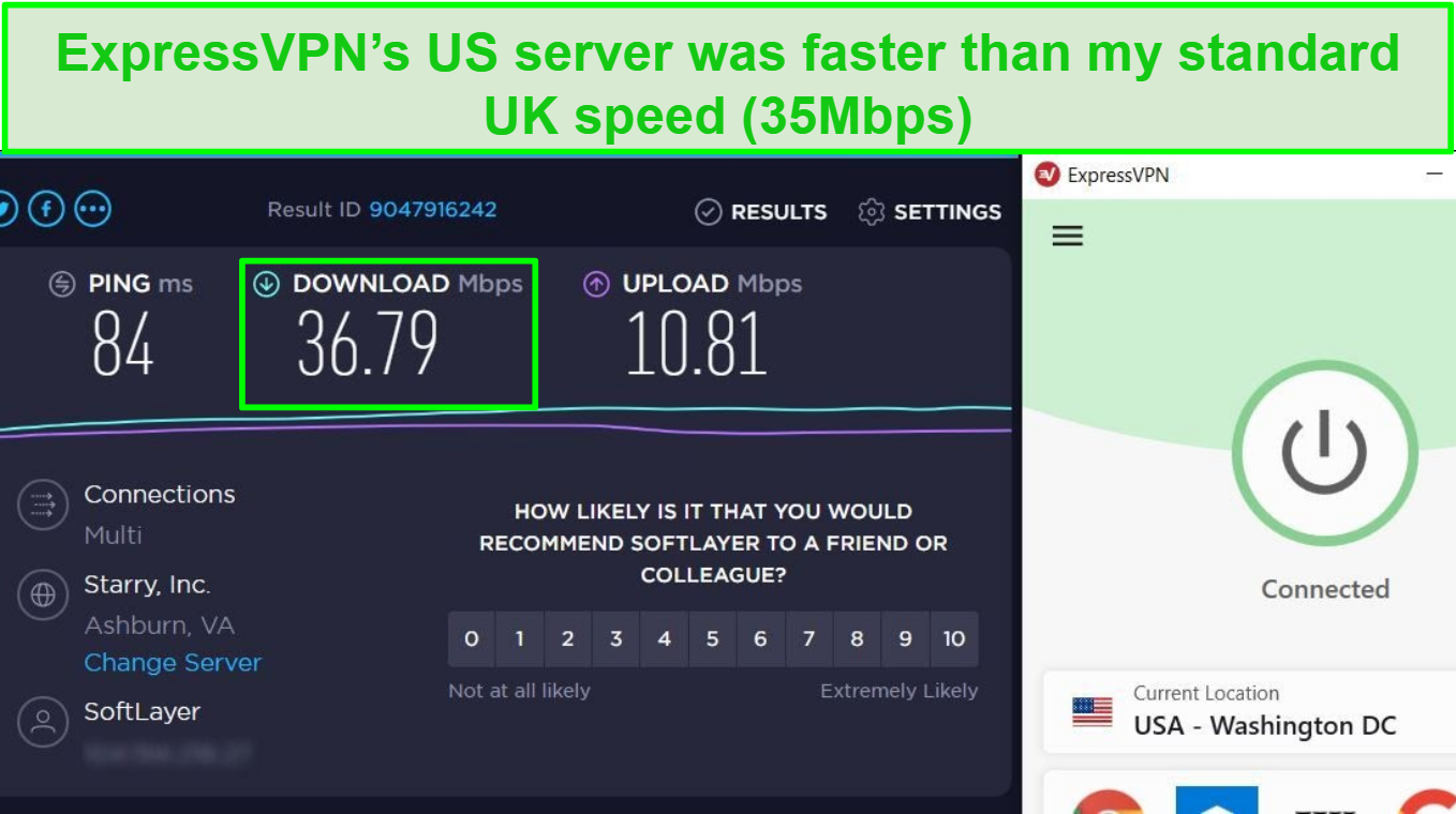 Screenshot of ExpressVPN's fast speeds when connected to a US server that can unblock YouTube TV