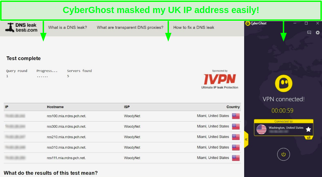 Screenshot of CyberGhost passing a DNS leak test to hide a UK IP address and replace with a US server to unblock YouTube TV