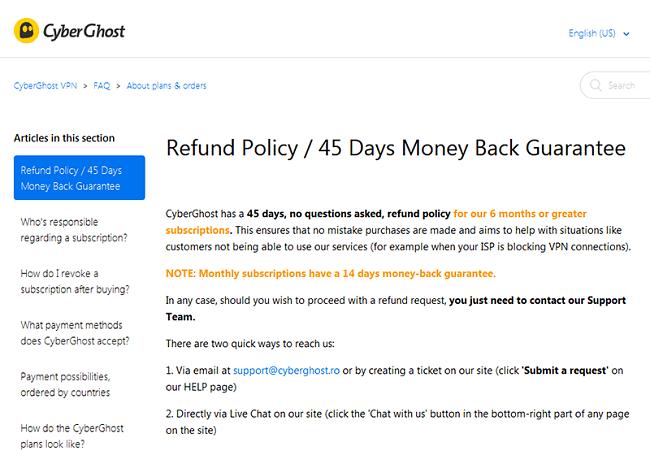 CyberGhost 45-Day Money Back Guarantee