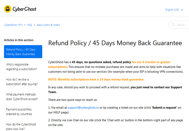 CyberGhost 45-Day Money Back Guarantee