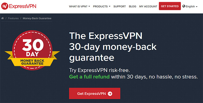 The ExpressVPN 30-day money-back guarantee