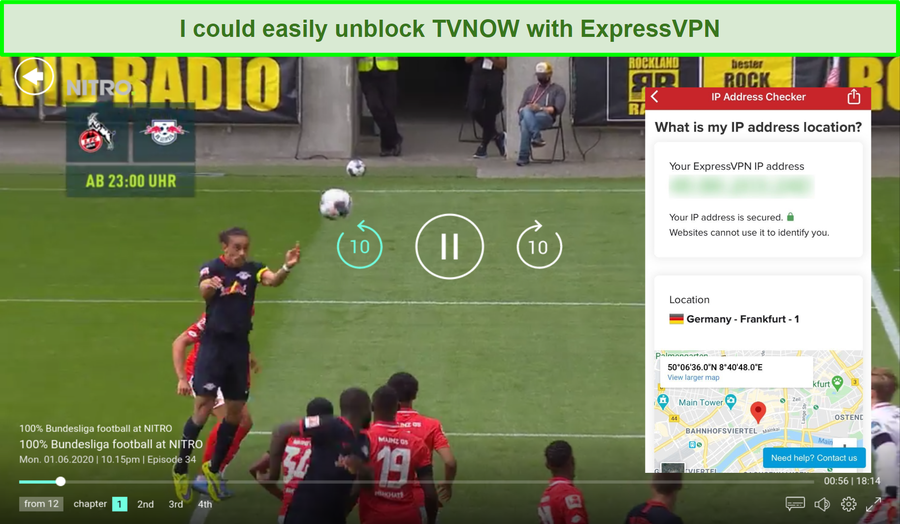 Screenshot of ExpressVPN unblocking 100% Bundesliga Football on TVNOW