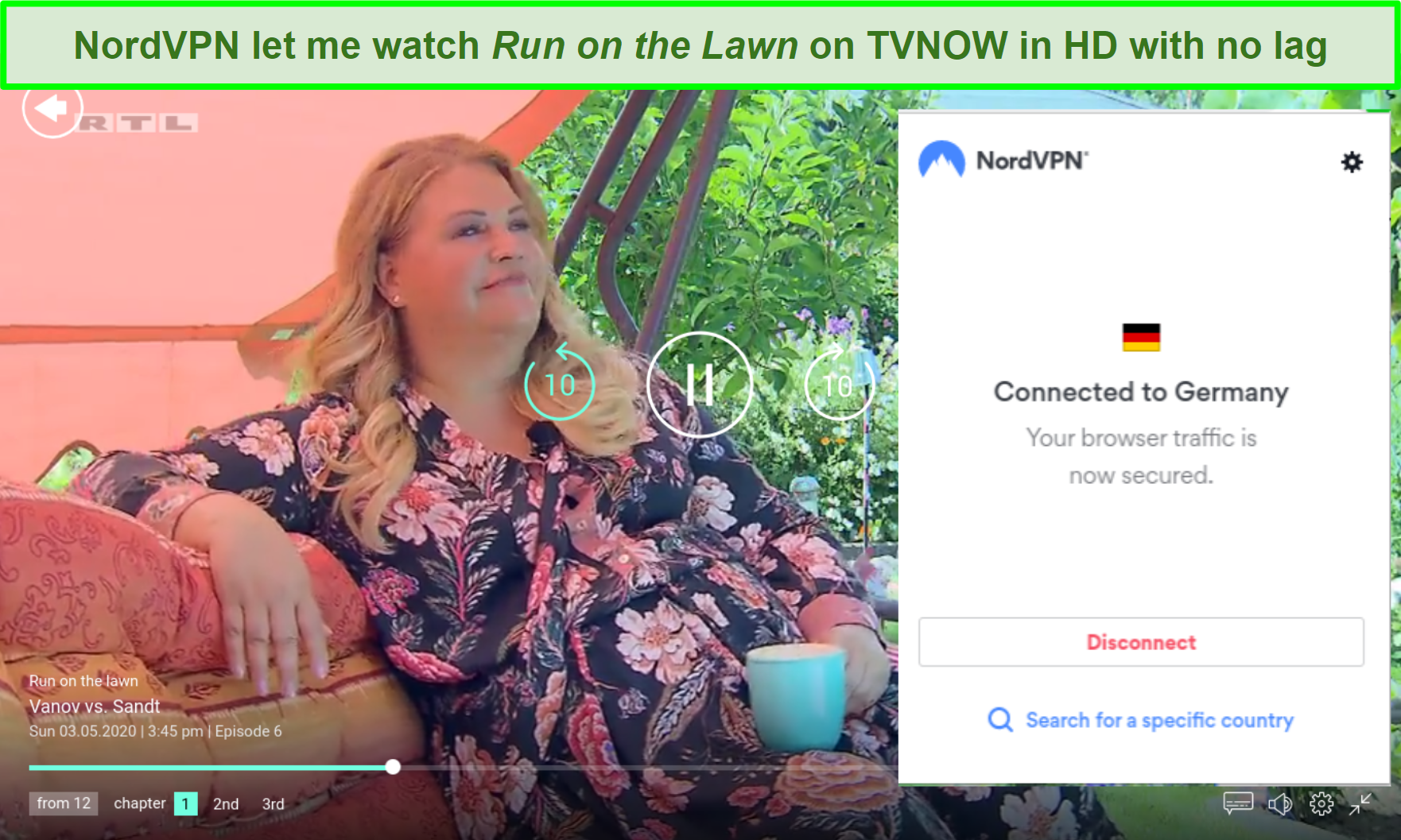 Screenshot of NordVPN unblocking Run on the Lawn on TVNOW