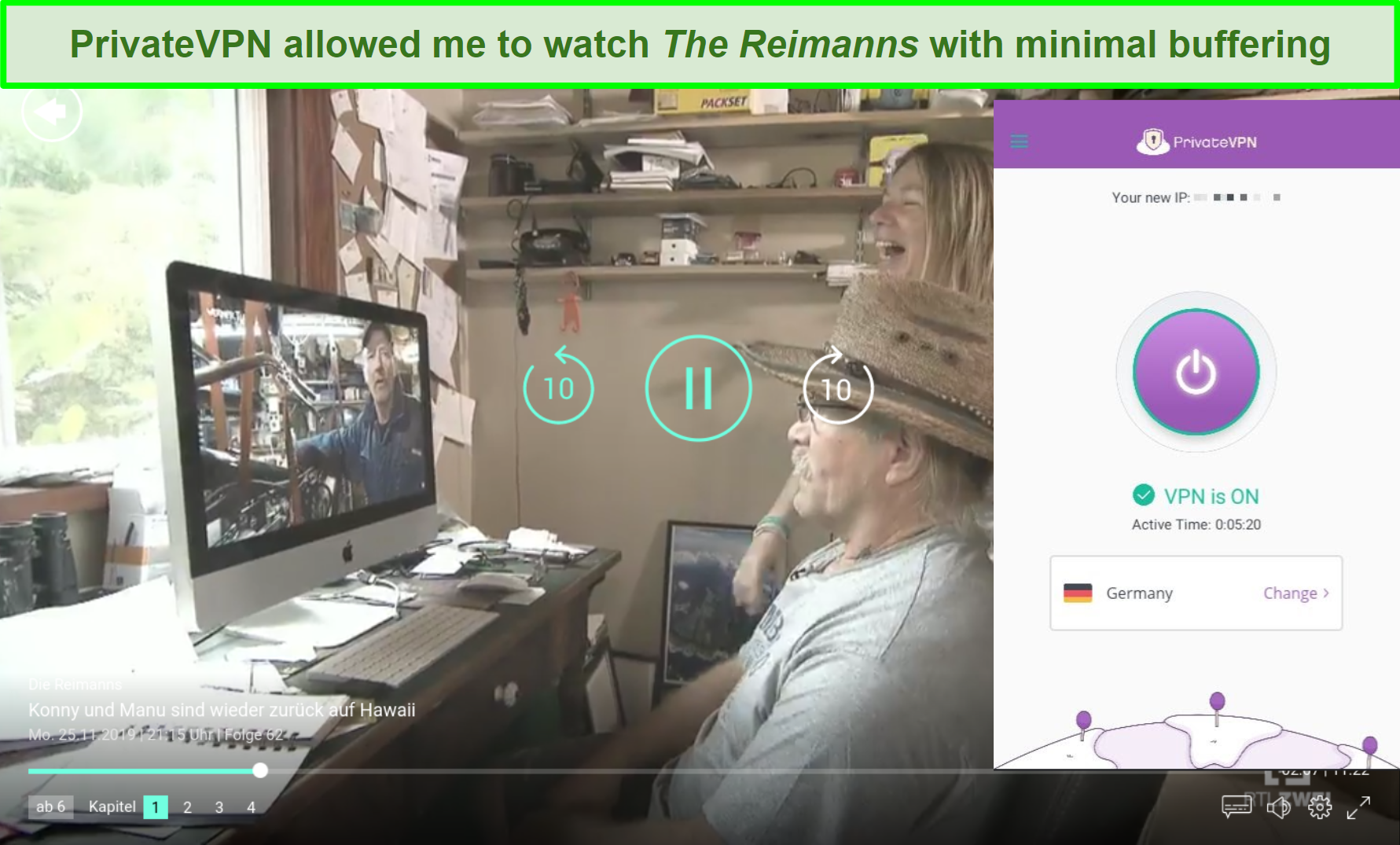 Screenshot of PrivateVPN unblocking The Reimanns on TVNOW