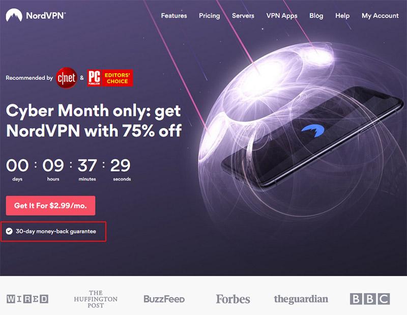 NordVPN 30-day money back