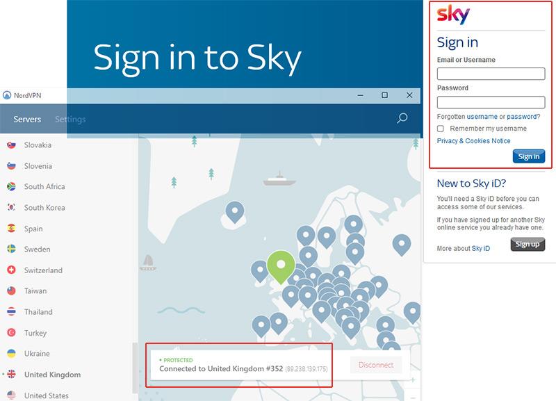 SkyGo online NordVPN