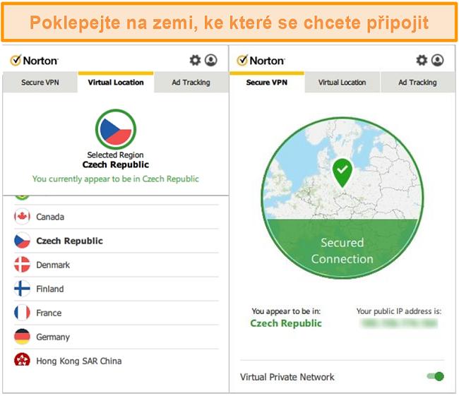 Screenshot aplikace Norton Secure VPN připojené k serveru v České republice.
