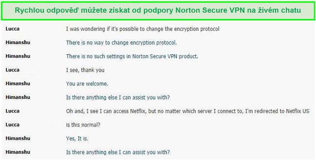 Screenshot živého chatu s podporou Norton Secure VPN.