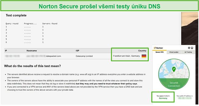 Screenshot aplikace Norton Secure VPN procházející testem úniku DNS.