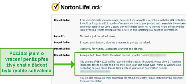 Screenshot žádosti o vrácení peněz prostřednictvím živého chatu Norton Secure VPN 24/7