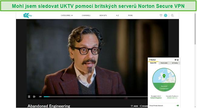 Screenshot z Norton Secure VPN odblokování UKTV a streamování Abandoned Engineering.