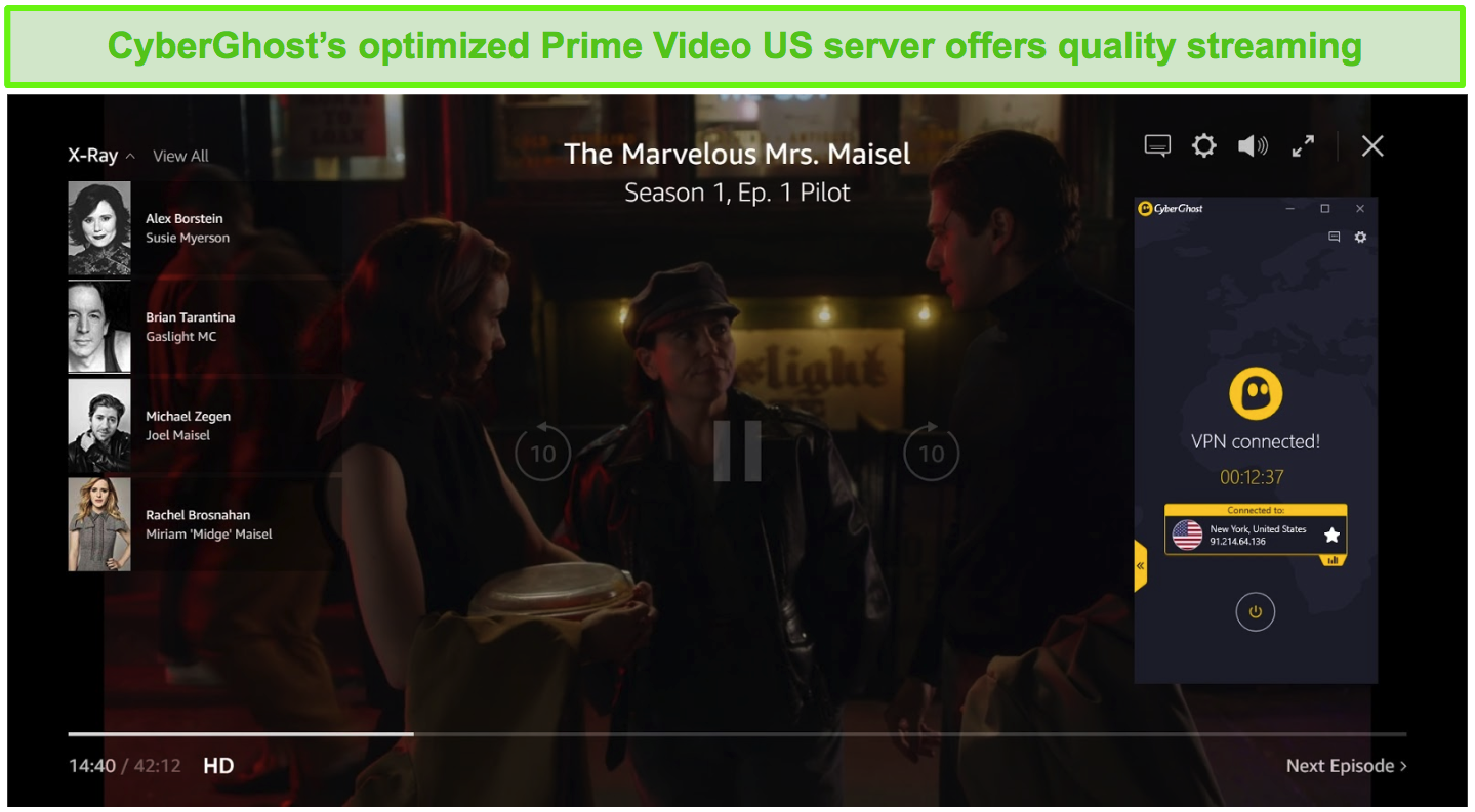 Screenshot of CyberGhost connected to a US server and unblocking The Marvelous Mrs. Maisel on Prime Video US